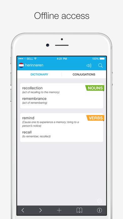 Translations: Dutch - English Dictionary Screenshots