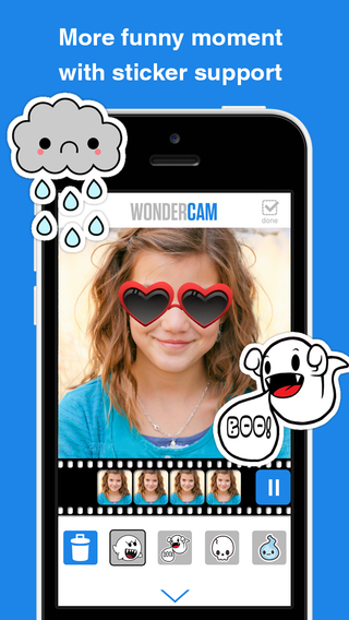 WoCam Free - Videoshop with toolkit for adding frames stickers effect and music background