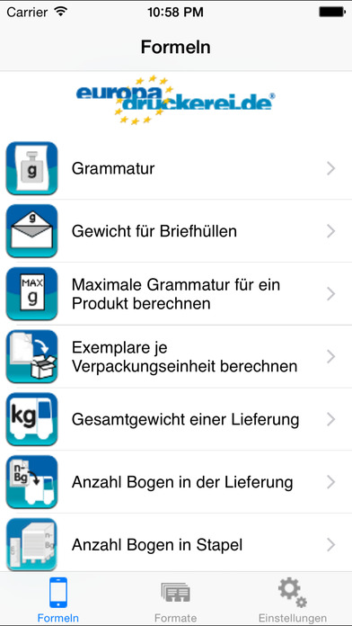 Druckformeln iPhone Screenshot 2