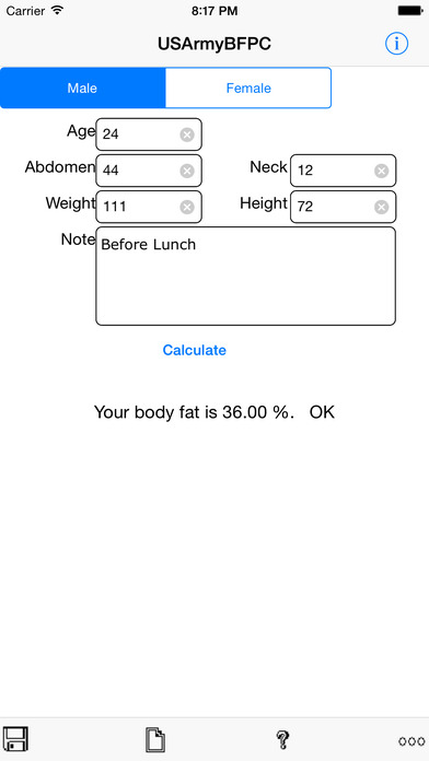 Army Body Fat Percentage Calculator for iPhone iPhone Screenshot 3