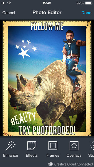 Photo Rodeo Selfie App Blend Face in Wild Animal Ride-Yourself Celebrity Politicians