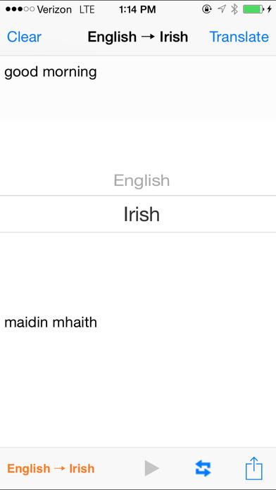 English Irish Translator iPhone Screenshot 2