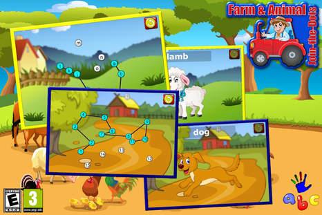 完成简单的动物字母连接点样式拼图的可爱卡通动物和农业相关的项目.