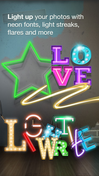 Light Write - photo editor featuring cool neon fonts and glowing light streaks