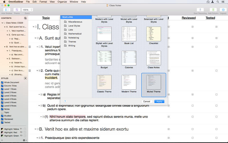 omnioutliner pro 4 5 pro version of the popular outliner macos x