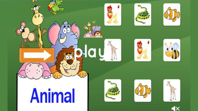 Animal Match for kids kindergarten game