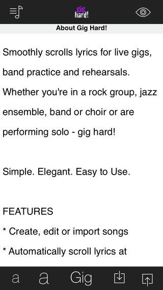 Gig Hard - Scrolling Lyrics for Musicians that Gig