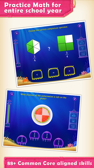 3rd Grade Splash Math Game to help kids practice numbers tables and drills geometry shapes in classr