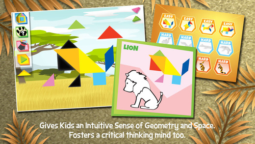 Kids Learning Puzzles: Safari Animals - Tangram Building Blocks Make Your Brain Pop