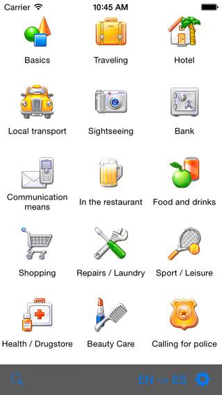 English-French-Spanish Talking Travel Phrasebook iPhone Screenshot 1