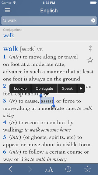 Collins English Dictionary and Verbs