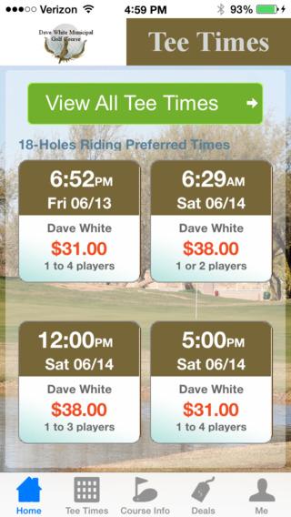Dave White Municipal Golf Tee Times