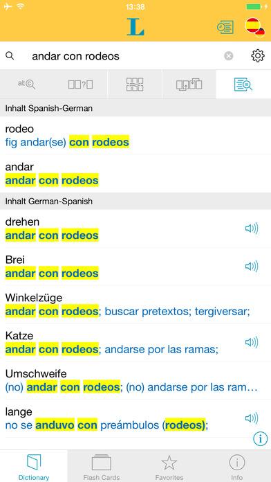 Spanish <-> German Talking Dictionary Langenscheidt Professional iPhone Screenshot 2