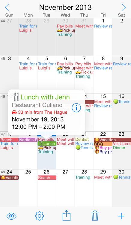 Week Calendar - iPhone Mobile Analytics and App Store Data