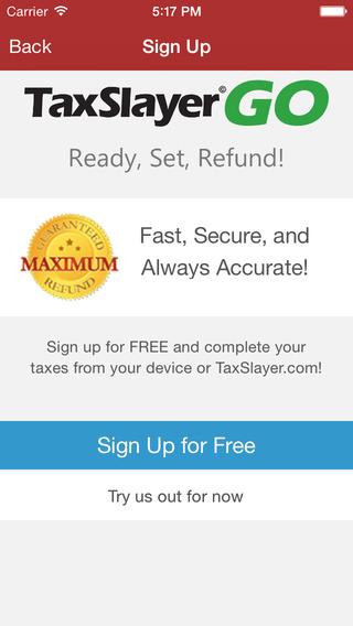 TaxSlayer Go - Efile 2014 Tax Returns