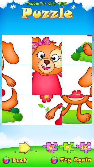 123 Kids Fun PUZZLE BLUE Free App - Preschool and kindergarten learning games