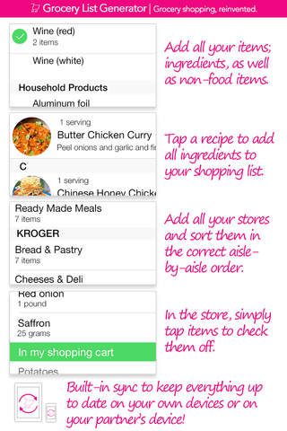 Grocery List Generator Lite - Create shopping lists and store all your recipes. screenshot 1