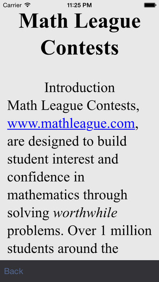 Math League Contests (For Student) iPhone Screenshot 1