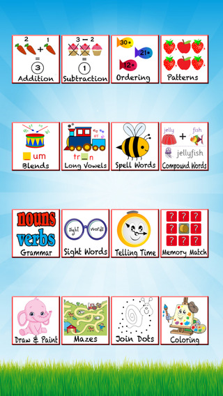 First Grade Kids Homeschooling Worksheets -Teaching and learning Math Operations Patterns Long Vowel