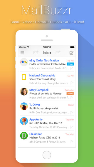 MailBuzzr - Email app for Gmail Yahoo Hotmail Outl