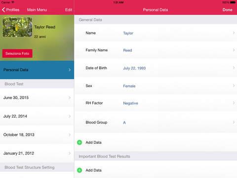 My Blood Test for iPad iPad Screenshot 2