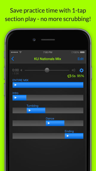 MixPlay - A time-saving mp3 audio music player for coaches and choreographers of music-based routine