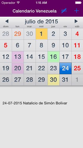 Calendario 2015 Venezuela