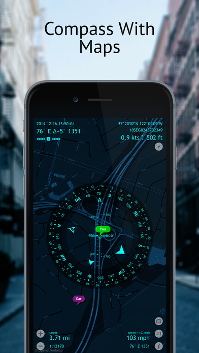 Spyglass ~ AR tracker, compass, sextant, rangefinder, gps, maps, stars iPhone Screenshot 2