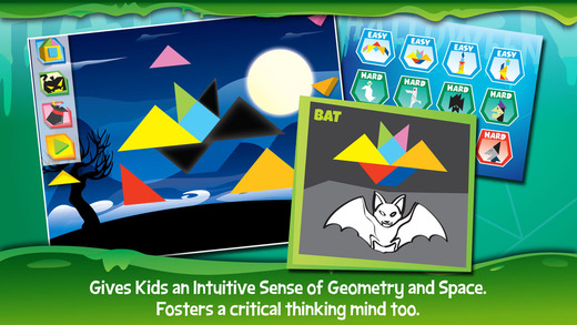 Kids Learning Puzzles: Halloween - Tangram Building Blocks Make Your Brain Pop