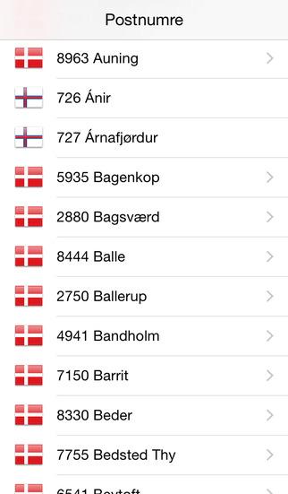 Postnumre iPhone Screenshot 1