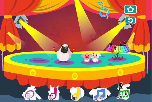 《妙士农场》是赭石教育奥克秘境教育产品系列中,专门为4岁以上音乐知识零基础的儿童打造的一款音符学习应用。一改抽象|哑巴式|音符学习方式,精心设计具象化的动物音符形象,以充满童趣的音乐游戏入手让儿童认知音符、感知音符、运用音符,力求为儿童构建具象的音乐知识学习新体系。 欢乐舞台:在欢乐舞台上,小朋友们可以认识到二分音符-哞哞牛,四分音符-咩咩羊和八分音符-噜噜猪。 能游泳的餐厅:小朋友们一起去帮助全音符-大耳象用长长的鼻子把水吸干吧。 神奇的瞌睡谷仓:勤劳的蜘蛛大叔把小动物们呼噜声谱成一首美妙的歌曲。 音符
