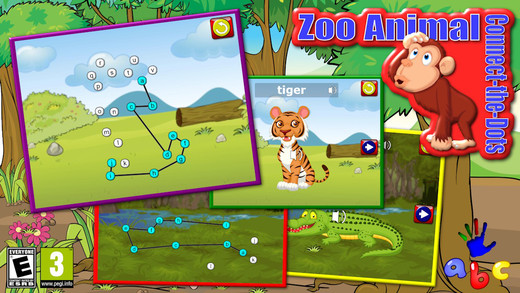 Preschool ABC Zoo Animal Connect the Dot Puzzles - teaches counting numbers and letters