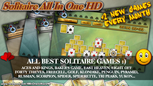 Solitaire All In One HD Pro - The Classic Card Game Full Deluxe Puzzle Pack for iPad iPhone