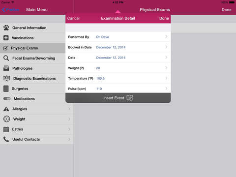 Dog Medical Agenda for iPad iPad Screenshot 5