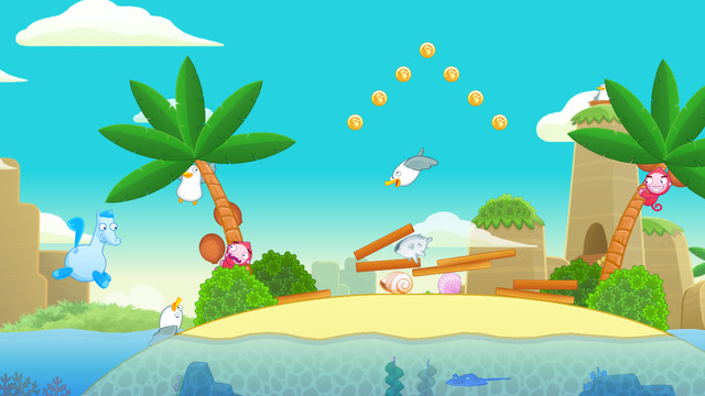 Crazy Seahorses, the cartoon physics-runner game is now Free on iOS Image