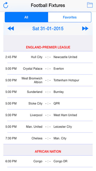 Football Fixtures Live Results
