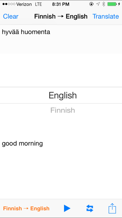 English Finnish Translator with Voice iPhone Screenshot 1