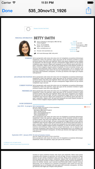 iCV Resume Screenshots