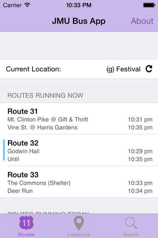 The JMU Bus App screenshot 1