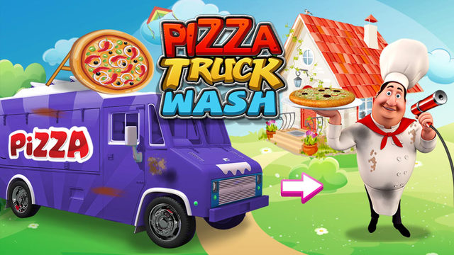 Pizza Truck Wash - Dirty messy and dusty car washing and crazy clean up adventure game