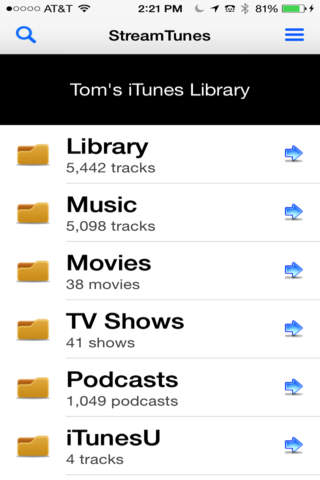 iStreamTunes - Music Streamer for iTunes app screenshot