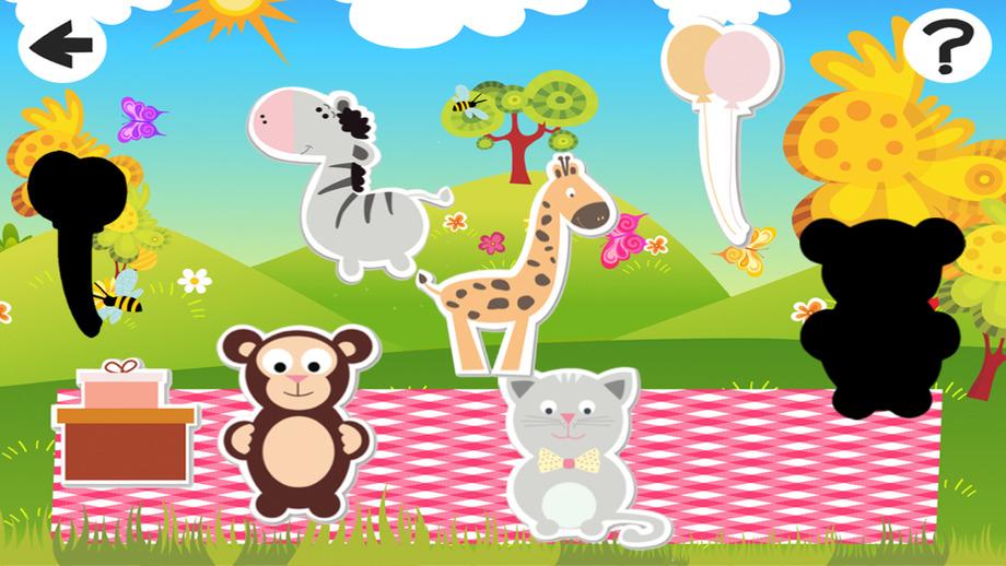 活动! 影游戏为孩子们玩耍和学习的形状与动物宝宝