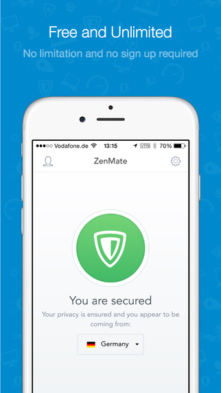 ZenMate for iOS8 The best Unblock VPN for Privacy Security Encryption and Proxy