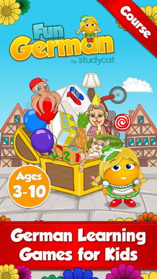 Fun German Course by Studycat: German language learning games for kids ages 3-10.