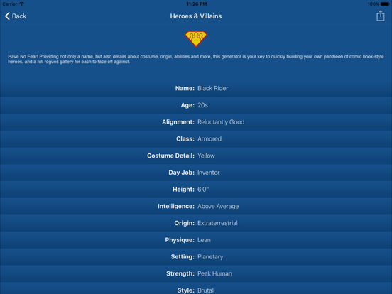 Characterize - Character Creator & Random Name Generator for Fantasy Names, Pirates, Aliens & More screenshot