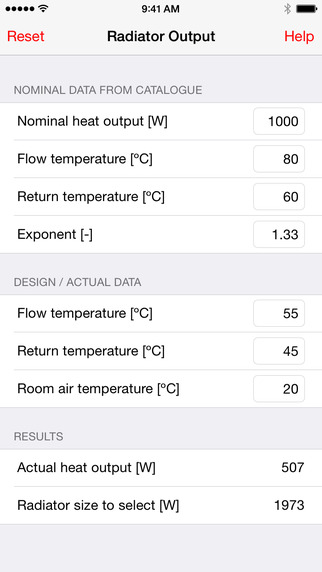 RadiatorOutput: calculate a radiator's heat output at different temperatures