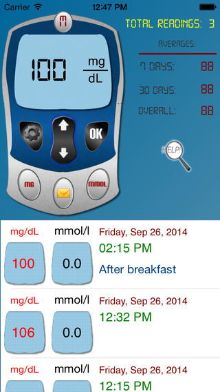 Diabetic Tracker Unlimited - Track your sugar level daily ( both mg/dl and mmol/L ) iPhone Screenshot 1