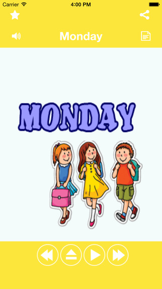 Days of Week Learning for Kids and babies using flashcards and sounds