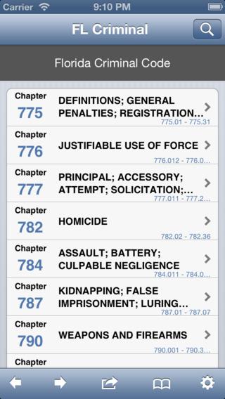 FL Criminal Code Florida Law Statutes