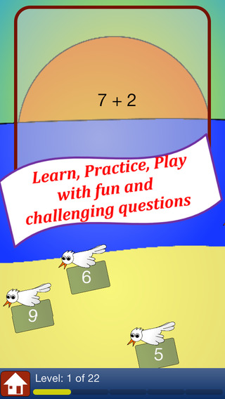 Addition Math Practice - a addition quiz to learn basic math facts for elementary school